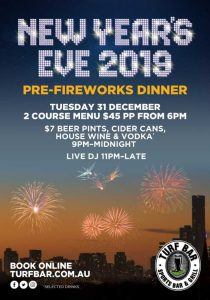 New Year's Eve 2019 Pre-Fireworks Dinner at Turf Bar