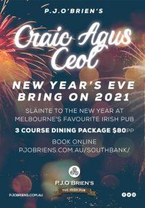 P.J. O'Brien's - Craic Agus Ceol New Year's Eve - NYE Dining Melbourne